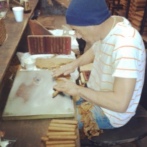 "A cigar maker at the ""New Orleans Cigar factory""!"